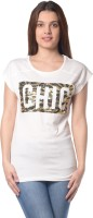 Meira Printed Womens Round Neck White T-Shirt