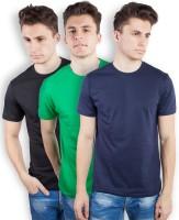 TOMO Solid Men's Round Neck Black, Green, Dark Blue T-Shirt(Pack of 3)
