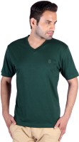 Humbert Solid Mens V-neck Dark Green T-Shirt