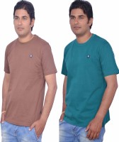 Leaf Solid Men's Round Neck Brown, Green T-Shirt(Pack of 2)