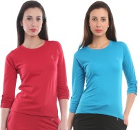 Ultra Fit Solid Women's Round Neck Red, Blue T-Shirt(Pack of 2)