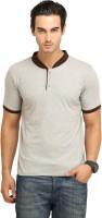 Fio Solid Men's Mandarin Collar Grey T-Shirt
