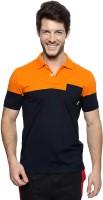 Ajile by Pantaloons Solid Men's Polo Neck Dark Blue, Orange T-Shirt