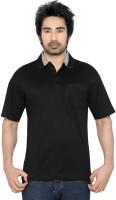 Thinc Solid Mens Polo Neck Black T-Shirt