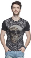 Tinted Printed Mens Round Neck Black T-Shirt