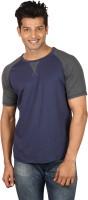 Poshuis Solid Men Round or Crew Dark Blue, Grey T-Shirt