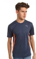 Puma Solid Men's Round Neck Dark Blue T-Shirt