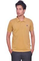 Leaf Solid Men's Polo Neck Beige T-Shirt