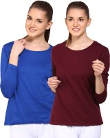 Appulse Solid Womens Round Neck Blue, Brown T-Shirt(Pack of 2)