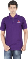 Fleximaa Solid Mens Polo Neck Purple T-Shirt