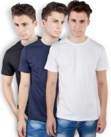 TOMO Solid Men's Round Neck Black, Dark Blue, White T-Shirt(Pack of 3)