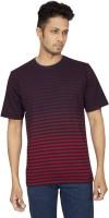 Red Line Striped Men Round Neck Red T-Shirt