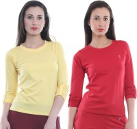 Ultra Fit Solid Women's Round Neck Yellow, Red T-Shirt(Pack of 2)