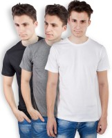 TOMO Solid Men's Round Neck Black, Grey, White T-Shirt(Pack of 3)