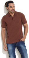 Pure Play Solid Men Polo Neck Brown T-Shirt