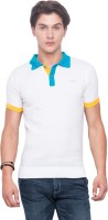 Mufti Solid Men Polo Neck White T-Shirt