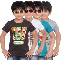 Dongli Boys Printed T Shirt(Multicolor Pack of 4)