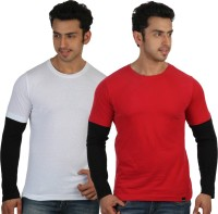 Rigo Solid Men's Round Neck White, Red T-Shirt(Pack of 2)