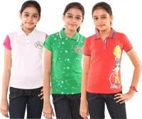 Menthol Girls Printed T Shirt(Multicolor)