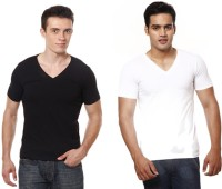 Casual Tees Solid Men's V-neck Multicolor T-Shirt(Pack of 2) thumbnail