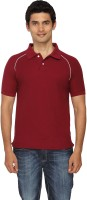 Scottish Solid Mens Polo Neck Maroon, White T-Shirt