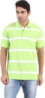 Furore Striped Mens Polo Neck White, Light Green T-Shirt