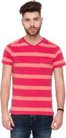 Mufti Striped Men V-neck Pink T-Shirt