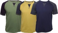 Poshuis Solid Men's Round Neck Green, Blue, Yellow T-Shirt(Pack of 3)