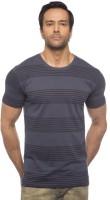 Cult Fiction Striped Mens Round Neck Blue T-Shirt