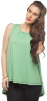 Cult Fiction Solid Womens Round Neck Green T-Shirt