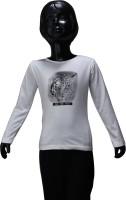 Starsy Girls Printed T Shirt(White)
