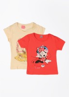 Disney Princess Girls Printed T Shirt(Beige)