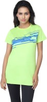 Aquamagica Striped Women's Round Neck Green T-Shirt