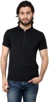 Tinted Solid Mens Henley Black T-Shirt