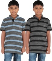 KNIT ABC Garments Boys Embroidered, Striped Cotton T Shirt(Grey, Pack of 2)