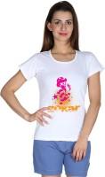 Faireno Printed Womens Round Neck White T-Shirt