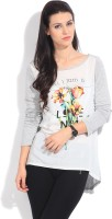 United Colors of Benetton. Printed Women's Round Neck White, Grey T-Shirt