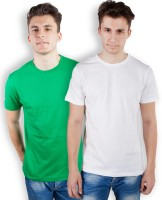 TOMO Solid Men's Round Neck Green, White T-Shirt(Pack of 2)