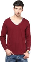 Izinc Solid Men V-neck Maroon T-Shirt