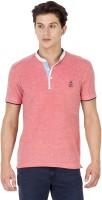 Mufti Solid Men Henley Pink T-Shirt