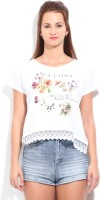 United Colors of Benetton. Floral Print Women's Round Neck White T-Shirt