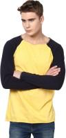 Unisopent Designs Solid Men's Round Neck Yellow, Black T-Shirt