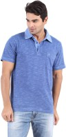 Furore Solid Mens Polo Neck Dark Blue T-Shirt