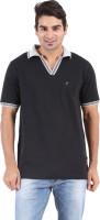 Furore Solid Mens Polo Neck Black T-Shirt