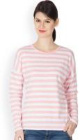 Hypernation Striped Women's Round Neck Pink, White T-Shirt