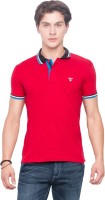 Mufti Solid Men Polo Neck Red T-Shirt