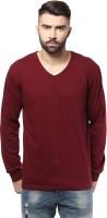 Unisopent Designs Solid Mens V-neck Maroon T-Shirt