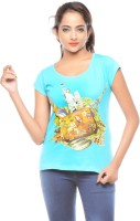 Trendy Girlz Printed Womens Round Neck Blue T-Shirt