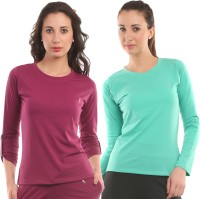 Ultra Fit Solid Women's Round Neck Maroon, Blue T-Shirt(Pack of 2)