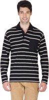 Hypernation Striped Men's Polo Neck Black, White T-Shirt